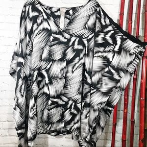 Chico's Tops - Chico's black and white polyester blouse L/XL